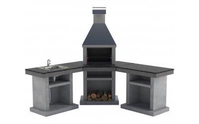 Садовый камин - барбекю Stimex Steel BLU комплект