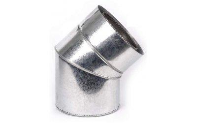 Колено сендвич для дымохода 45 из нержавеющей стали в оцинкованном кожухе AISI 201 Ф180/250(1мм)