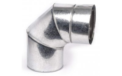 Коліно сендвіч для димаря 90 з нержавіючої сталі в нержавіючому кожусі AISI 201 ф150/220(0,8мм)